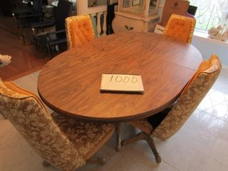 Dining room set with cast base table with one