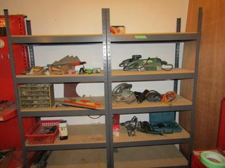 2 Metal shelving units  does not include contents