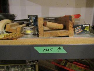 Sanding blocks  mitre boxes  saws  square