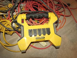 Miscellaneous extension cords and Stanley power ba