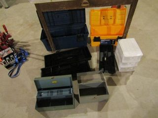 lot of empty tool boxes
