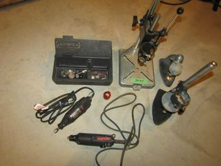 lot consisting of 3 Dremel stands  2 dremels and a