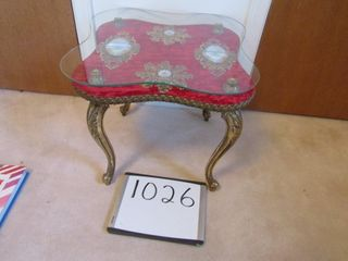 Ornate small table  glass 23 75  x 23 75  x