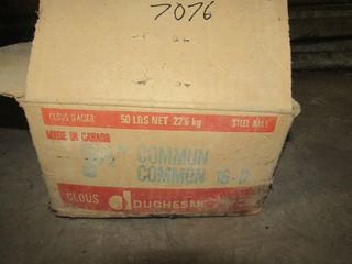 partial box of 3 1 2  common nails  welded wire me