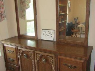 Mirrored back bureau 6 drawers 2 doors