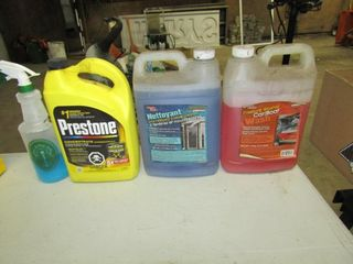 lot of oils cleaners  chemicals