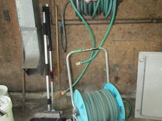 lot of garden hose and accessories