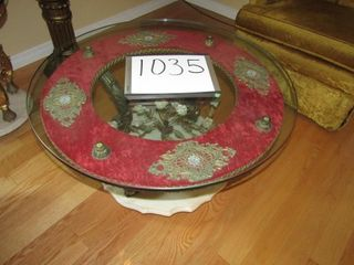 Round marble base glass top table