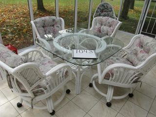 Bamboo glass top table and 4 rolling chairs