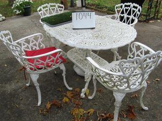 Cast Patio set  table  4 chairs  umbrella