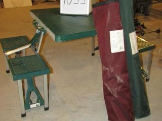 Poratable picnic table   cooler and 2 folding