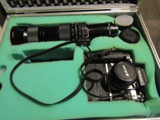 Nikon film camera kit with multiple lenses   Case