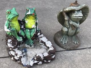 2  Concrete Frog Fountain Statues  13  High