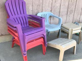 5  Plastic Patio Chairs   4 Footstools