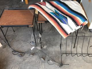 Woven Native Rug  Magazine Rack  and End Tables