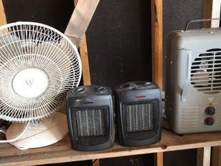 2 Space Heaters  Fan  Intertek Heater Fan