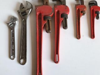 4 Pipe Wrenches and 2 Crescent Wrenches