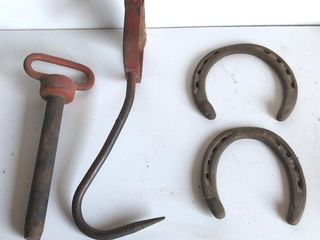 Hitch Pin  Hay Hook  and Horseshoes