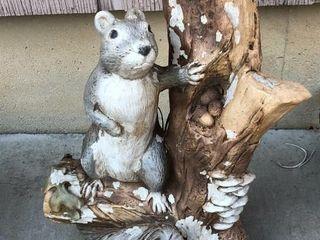 Concrete Squirrel on Branch Statue
