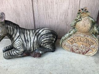 Zebra and Frog Statues