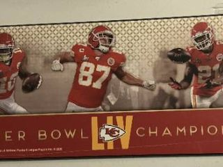 Officially licensed 30x10 Inch Kansas City Chiefs Super Bowl lIV Champions   Patrick Mahomes  Kelce  Williams  Hill  Breeland