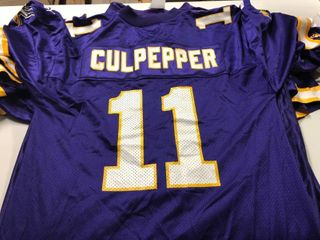 lot of SEVEN Minnesota Vikings Official Screen Printed Jerseys   Dante Culpepper  Jake Reed  Korey Stringer   More   All for One Money