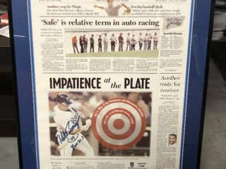 32x16 inch Framed and Matted Kansas City Star Sports Daily Signed By Kansas City Royal Mike Sweeney