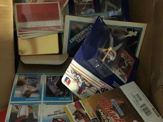 Random Box of Sports Cards and Memorabilia   Starting lineups  Box Bottoms    Many Other Sports Items   All one Money