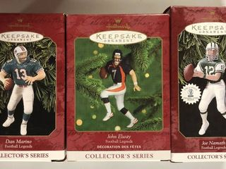 lot of Three John Elway  Joe Namath    Dan Marino Hallmark Ornaments New In Box