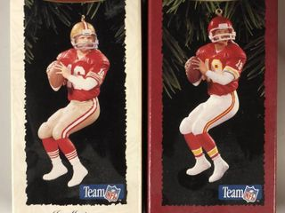 Two Joe Montana Hallmark Ornaments New In Box   Both Kansas City Chiefs   San Francisco 49ers