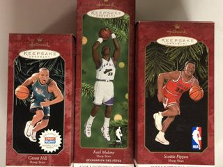 Three NBA Basketball Hallmark Ornaments New In Box   Scottie Pippen  Grant Hill  Karl Malone