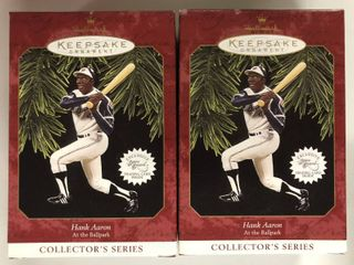 Two Hank Aaron Atlanta Braves Hallmark Ornaments New In Box