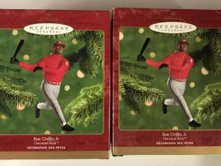 Two Ken Griffey Jr Hallmark Ornaments New In Box   Cincinnati Reds