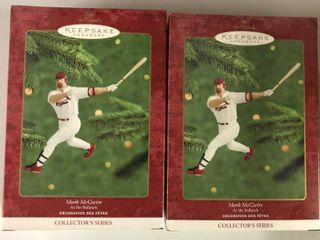 Two Mark McGwire Hallmark Ornaments New In Box   St louis Cardinals