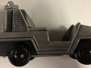 Vintage 1974 Banthirco Metal Coin Bank Army Jeep New In Box