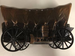 Vintage Bronze 1974 Banthirco Metal Coin Bank Covered Wagon   Salina  KS Bank