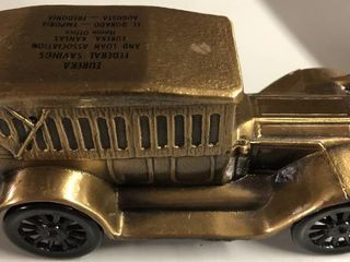 Vintage Bronze 1974 Banthirco Metal Coin Bank Pierce Arrow 1917 Car   Eureka Federal Savings Bank