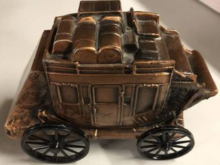 Vintage Bronze Banthirco Metal Coin Bank Horse Carriage