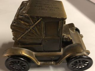 Vintage Bronze Banthirco Metal Coin Bank 1900 Pillbox Coupe   First National Bank Tankawa  Oklahoma