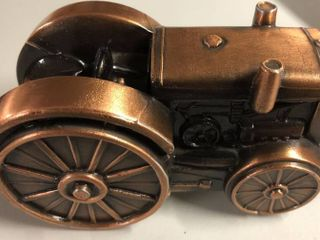 Vintage Bronze Banthirco Metal Coin Bank Early Tractor