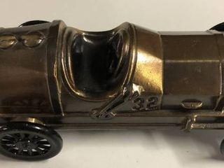 Vintage Bronze Banthirco Metal Coin Bank Race Car   The Commerical Bank   Salem  OR