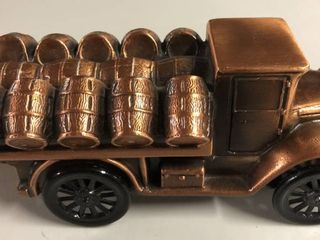 Vintage Bronze Banthirco Metal Coin Bank Wood Barrel Truck