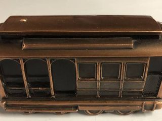 Vintage Bronze Banthirco Metal Coin Bank Train Trolley Car