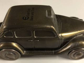 Vintage Bronze Banthirco Metal Coin Bank 1935 Ford Taxi Cab Car