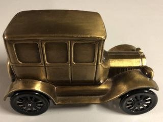 Vintage Bronze Banthirco Metal Coin Bank 1926 Ford Car
