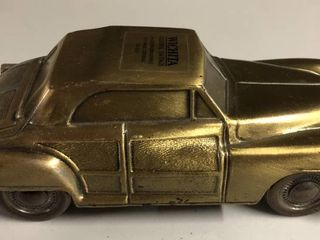 Vintage Bronze Banthirco Metal Coin Bank Car