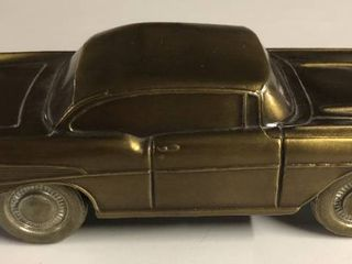 Vintage Bronze Banthirco Metal Coin Bank 1957 Chevy Car