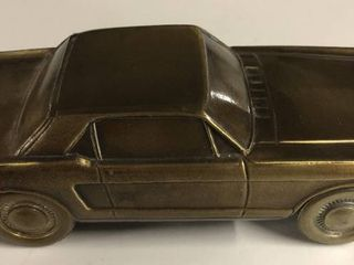 Vintage Bronze Banthirco Metal Coin Bank 1965 Ford Mustang Car