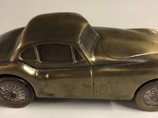 Vintage Bronze Banthirco Metal Coin Bank 1955 Jaguar Car