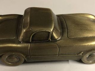 Vintage Bronze Banthirco Metal Coin Bank 1953 Chevy Corvette Car